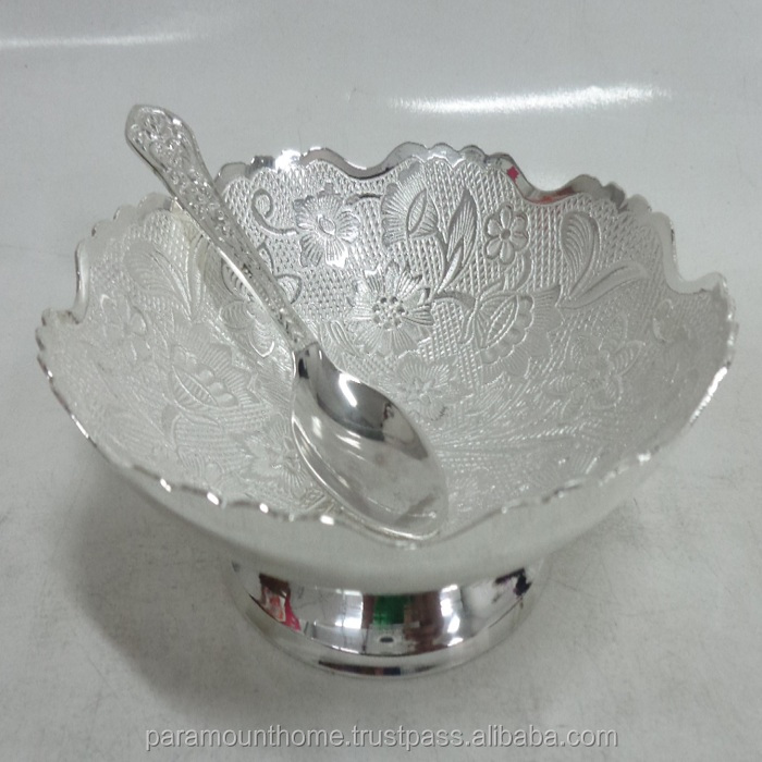 Decorative Embossed Round Bowl W/ Spoon With Silver Finish