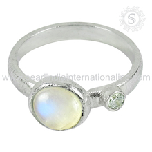 Blue sheen rainbow moonstone white cz gemstone silver rings jewelry 925 sterling silver rings indian jewellery online