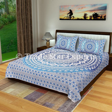 Queen size bed cover throw with pillow case indian mandala tapestry bedding set
