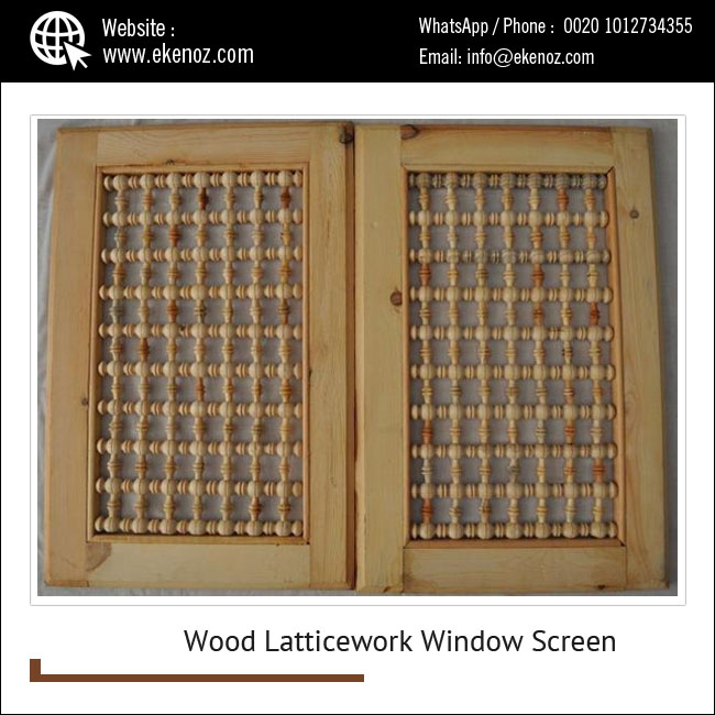 Carved Wood Latticework Mashrabeya Mashrabiya Window Screen at Affordable Price