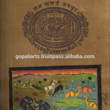 Wild life scene painting ethnic miniature art on old stamp paper hand painted wall decor rajasthani art painting