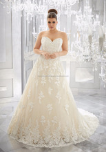 Bulk Wholesale Bridal Wedding Dress Plus Size Embroided Lace Ball Gown Tulle Silk and Smooth