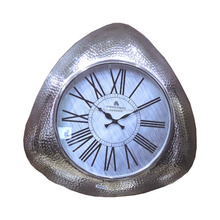 Triangle Shaped Aluminum metal Hammered silver 22 inch Wall clock