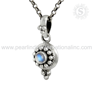 Shining rainbow moon gemstone silver pendant trendy indian silver jewelry pure 925 sterling silver pendant