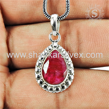 Glazed silver pendant ruby gemstone 925 sterling silver jewelry wholesale supplier jaipur jewellery