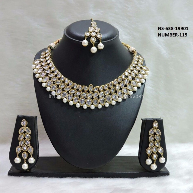 Latest design18k Gold Plated South Indian Necklace Set with Pearls and maang tikka For Wedding Bridal Party Wear