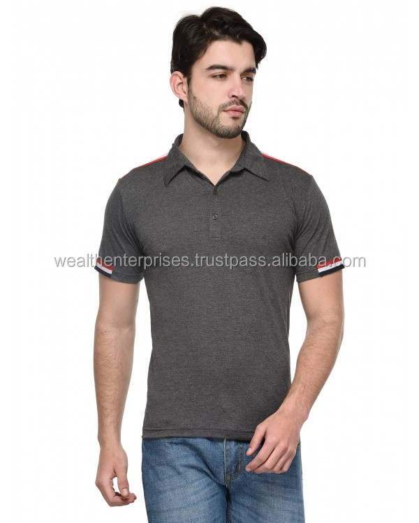 Light weight cotton t-shirt with polo collar/Street wear fashionable cotton t-shirt with polo collar