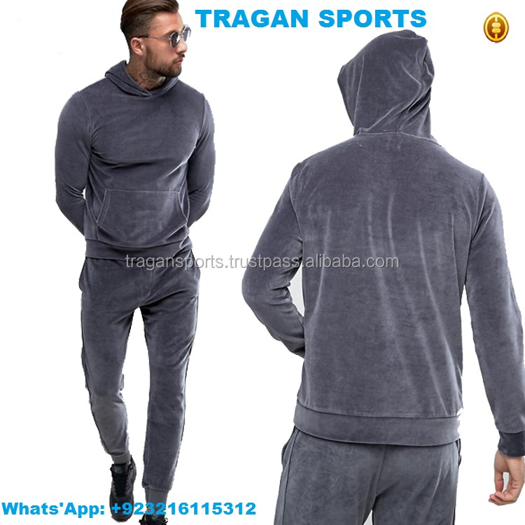 Custom Latest Design Velvet Track Suit For Men Velours Tracksuit In Running Training & Jogging Tracksuit