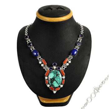 Natural multi gemstone 925 silver necklace wholesale sterling silver necklaces manufacturer