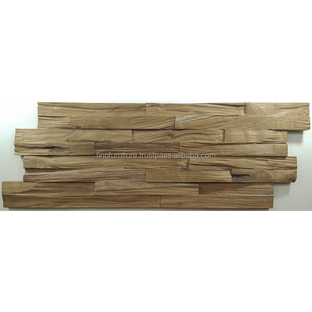 Teak Wood 3D Wood Mosaic Decoration Interior Decorative Wall Panel