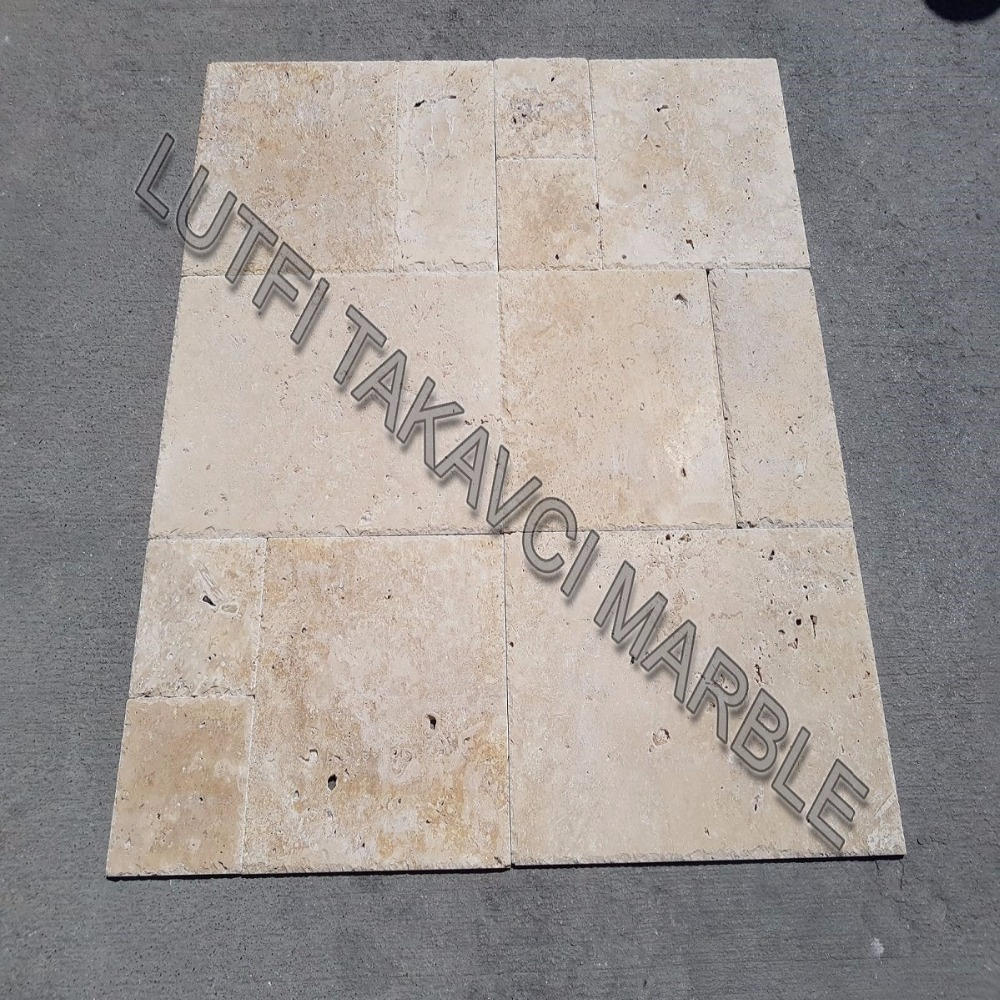 LIGHT TRAVERTINE FRENCH PATTERN COMMERCIAL SET 1.2 CM UNFILLED CHISELED BRUSHED