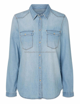 100% Cotton Long Sleeve Women`s Denim Shirt