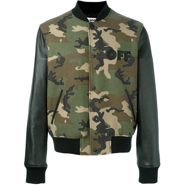 Camouflage With Leather Sleeves Custom Varsity Jackets