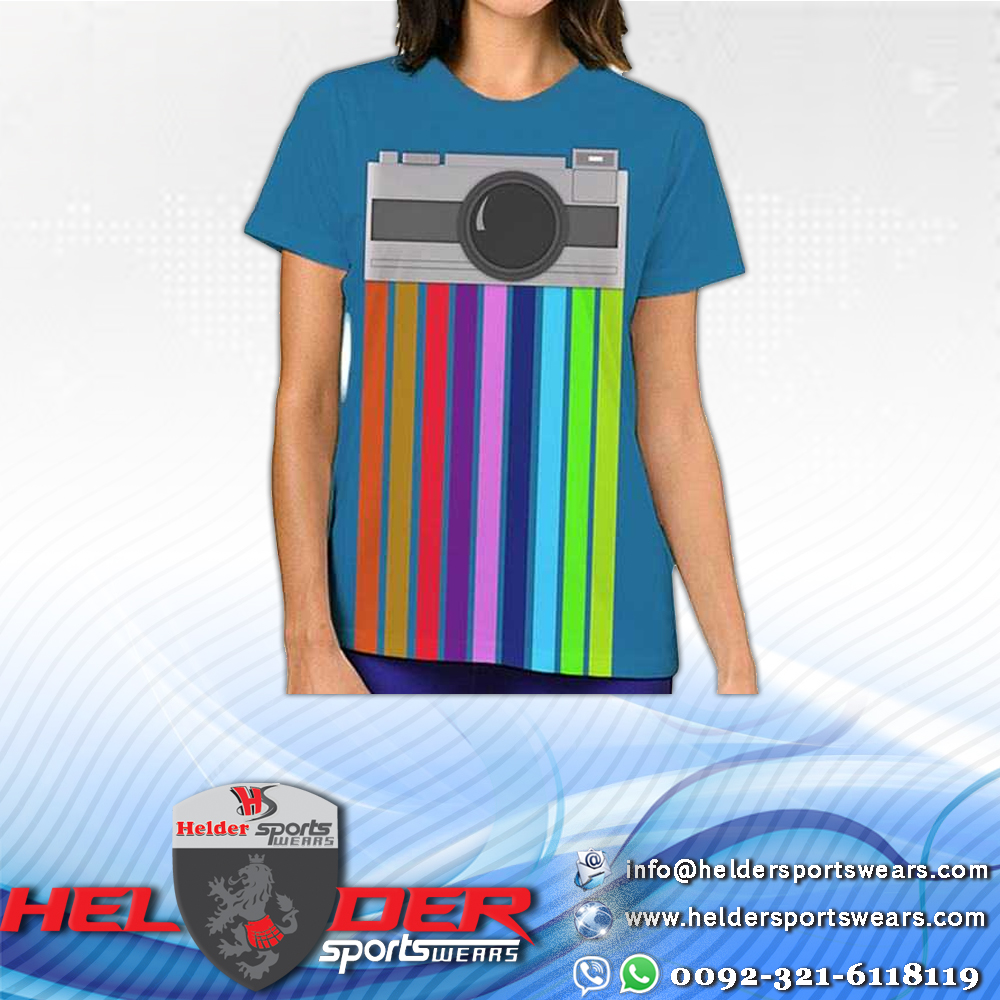 Rainbow Camera Printed Design Oversize Ladies short sleeve T-Shirt / Sublimation T-Shirt / Printed T-Shirt / Ladies T-Shirt