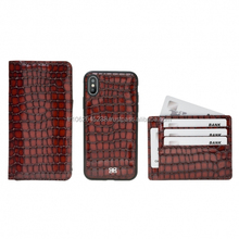 Crocodile leather phone case with magnet attachable for iphone X