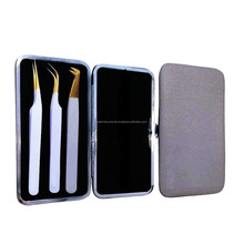Eyelash Extension Tweezers with magnetic case, Wholesale eyelash tweezers white coated with gold tip