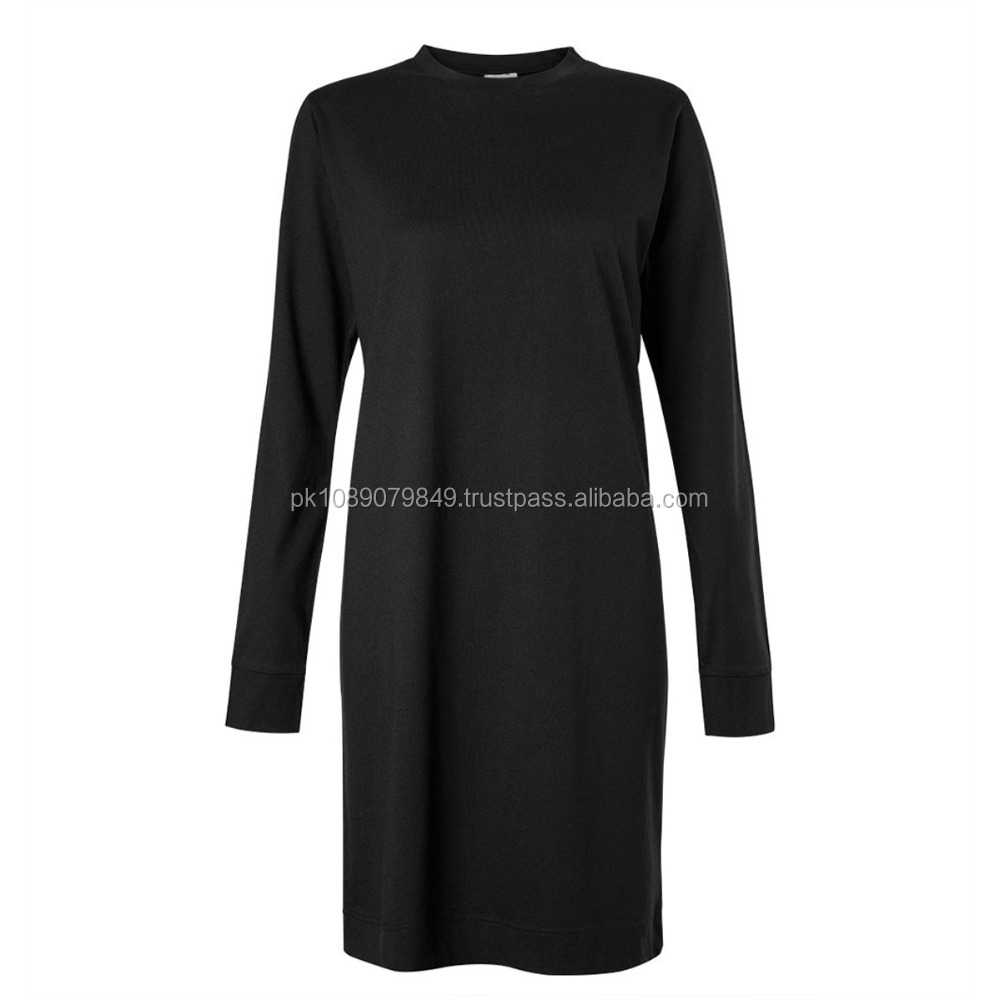 WOMEN'S COTTON LONG SLEEVE T-SHIRT DRESS IN BLACK