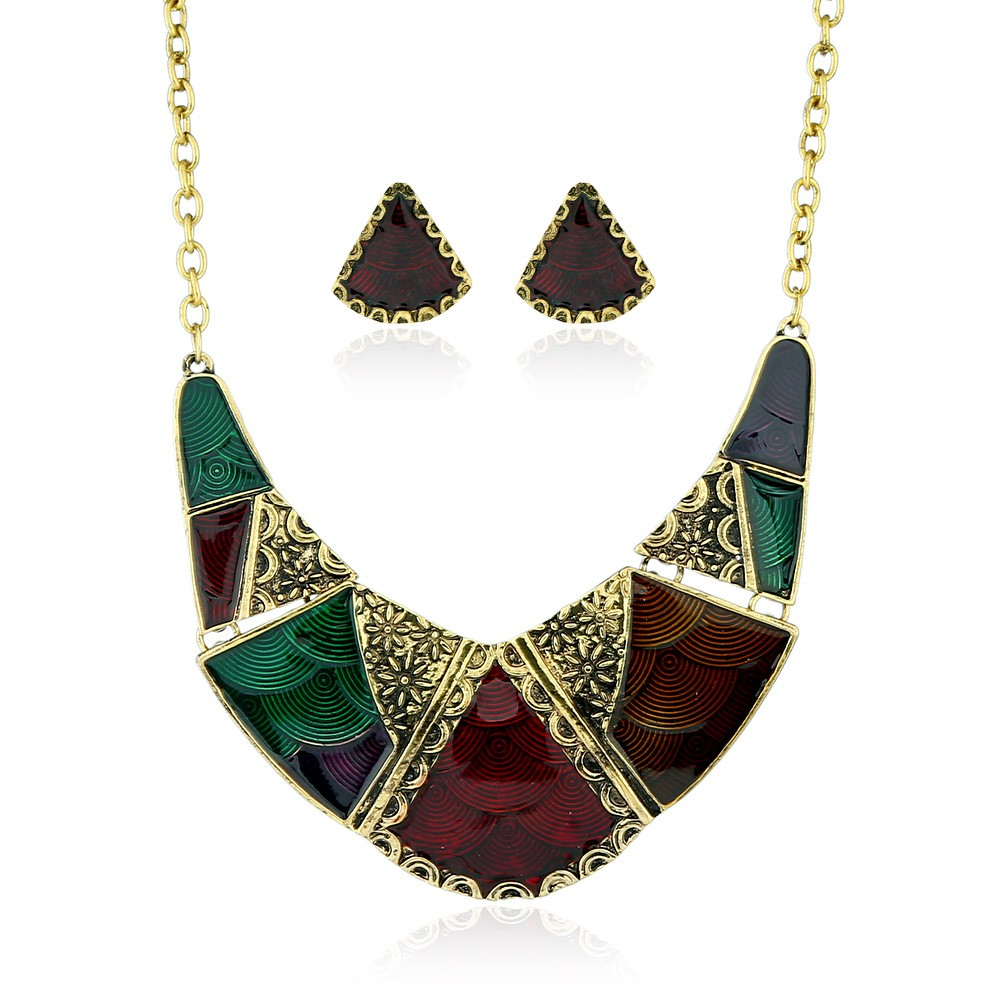 Bohemia Indian Jewelry Sets Top Quality Gold Chian Enamel Hit color Geometry Necklace Earring Set