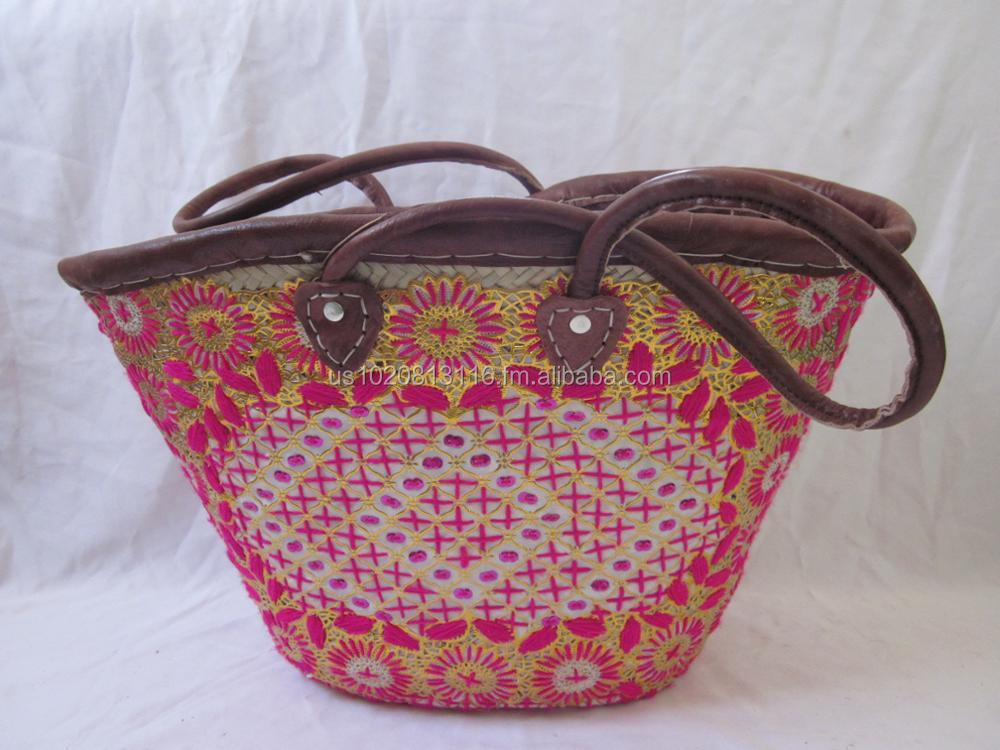 Amazing Handmade Embroidered Straw Wicker Baskets
