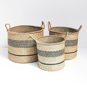 Black and natural twisted seagrass storage, seagrass laundry basket