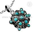 Antique design sky turquoise gemstone pendant 925 sterling silver pendants wholesale jewelry supplier