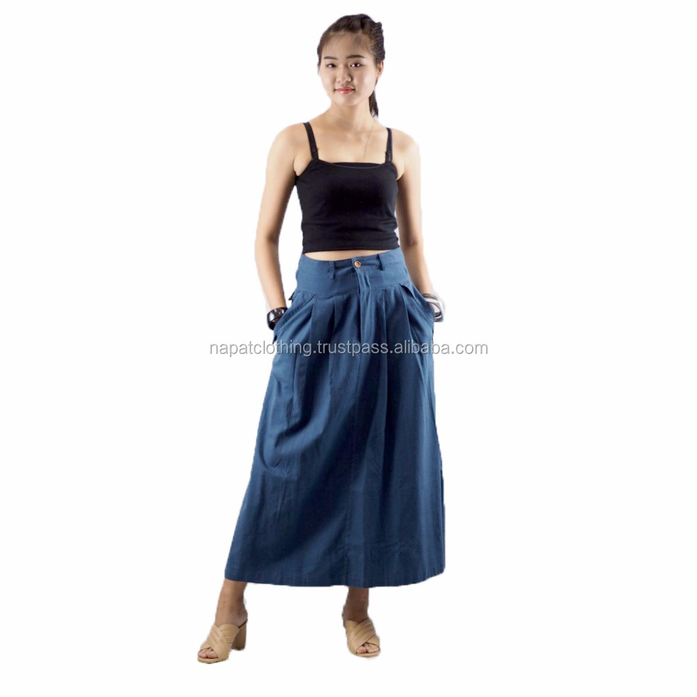 NAPAT Women Pants Plain Cotton Ruffled Skirt Women