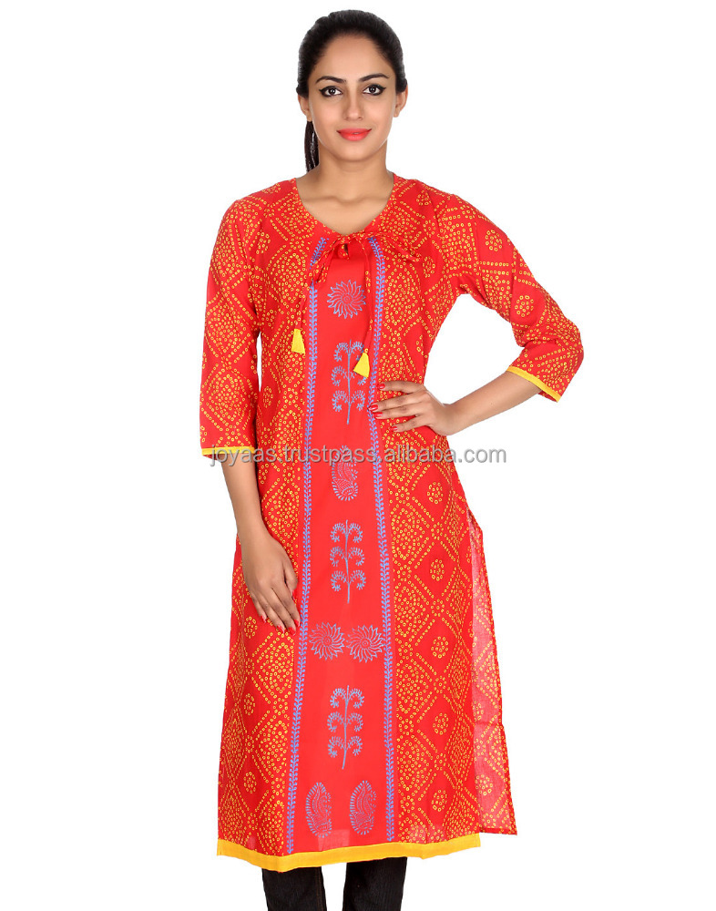Women's Ethnic Wear Red And Yellow Bandhej Printed Cotton V Neck 3/4Th Sleeves Kurti