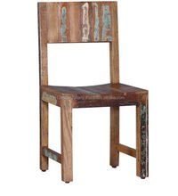 Rustic Antique Style Solid Reclaimed Wood Low Back Dining Chair