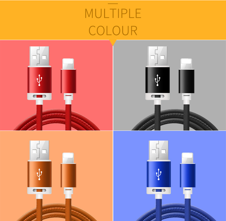 High Quality Wholesale Low Price 2.4A 100cm Charging Pu Leather Usb Cable,Data Sync Usb Charger Cable For Iphone
