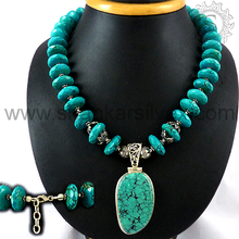 Fluorescence turquoise gemstone hot necklace jewelry 925 sterling silver necklaces jewellery manufacturing
