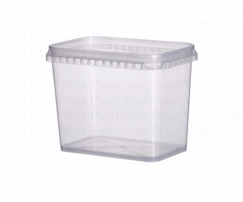 1000 ml/0,264 Gallon Rectangular Plastic Liquid Tight Container (Tupper) with Lid