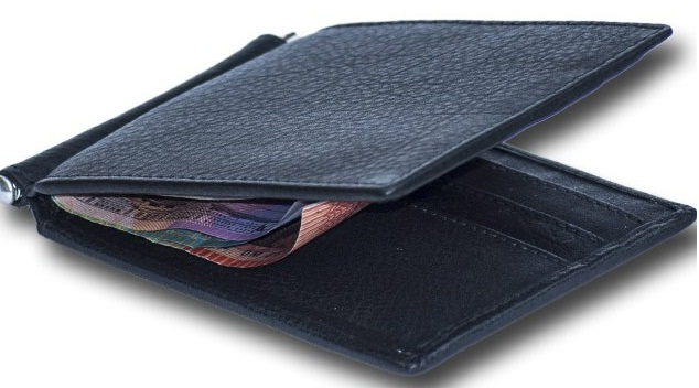 Money Clip Wallet Leather Personal Card Pocket