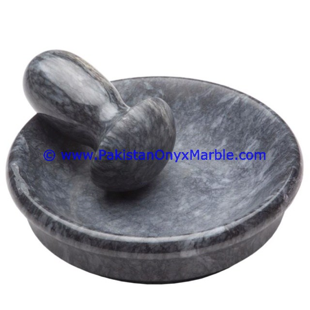 EXPORT QUALITY MARBLE MORTAR PESTLE GRAY MARBLE
