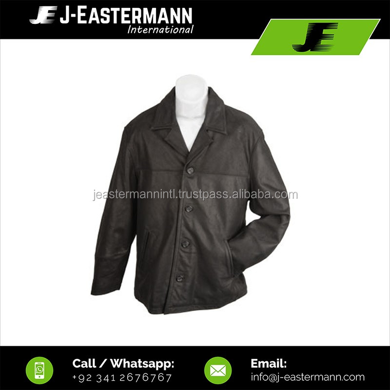 Latest Design Cheap Price Black Leather Coat for Men