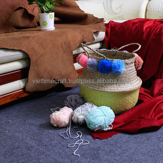 Best selling seagrass belly basket with Pom Pom, Vietnam folding seagrass baskets