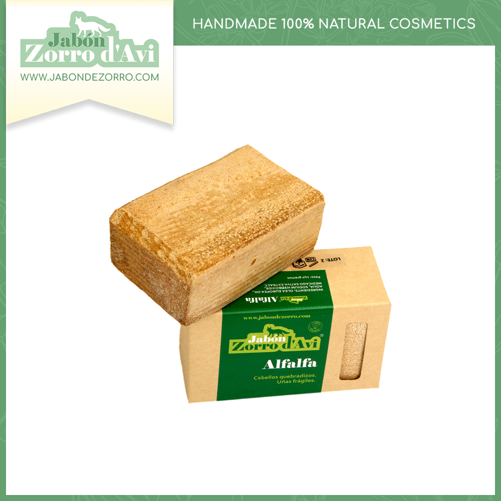 Alfalfa soap (140g) - Remineralizing agent. It combats the breakable nails and the brittle, dry and dull hair.