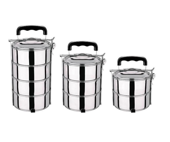 STAINLESS STEEL TIFFIN BOX FOR OFFICE, SCHOOL, PICNIC AND FOR OTHER STORAGE PURPOSE OF BOMBAY, THAI, CONICAL MODELS