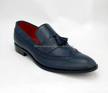 New Handmade Men Leather Tessel Loafers, Navy Blue Loafers Wedding Shoes