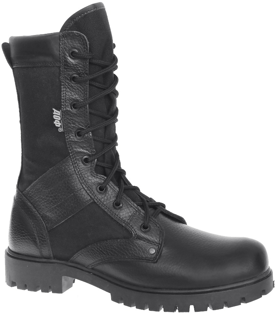 Black genuine leather army shoes military ankle boots for men