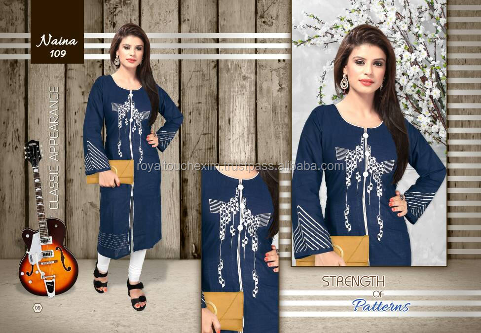 Latest long hand neck embroidery designs for kurtis kurti