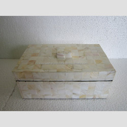 Tropical Vietnamese Lacquer interesting mosaic white box