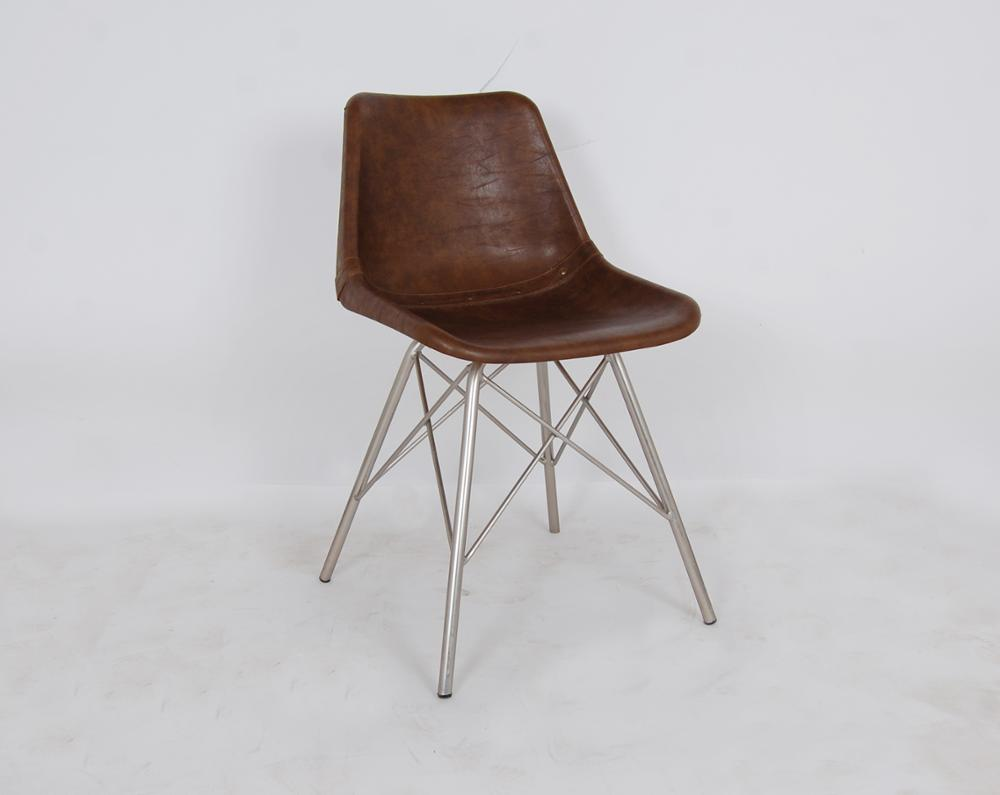 INDUSTRIAL IRON LEATHER CHAIR