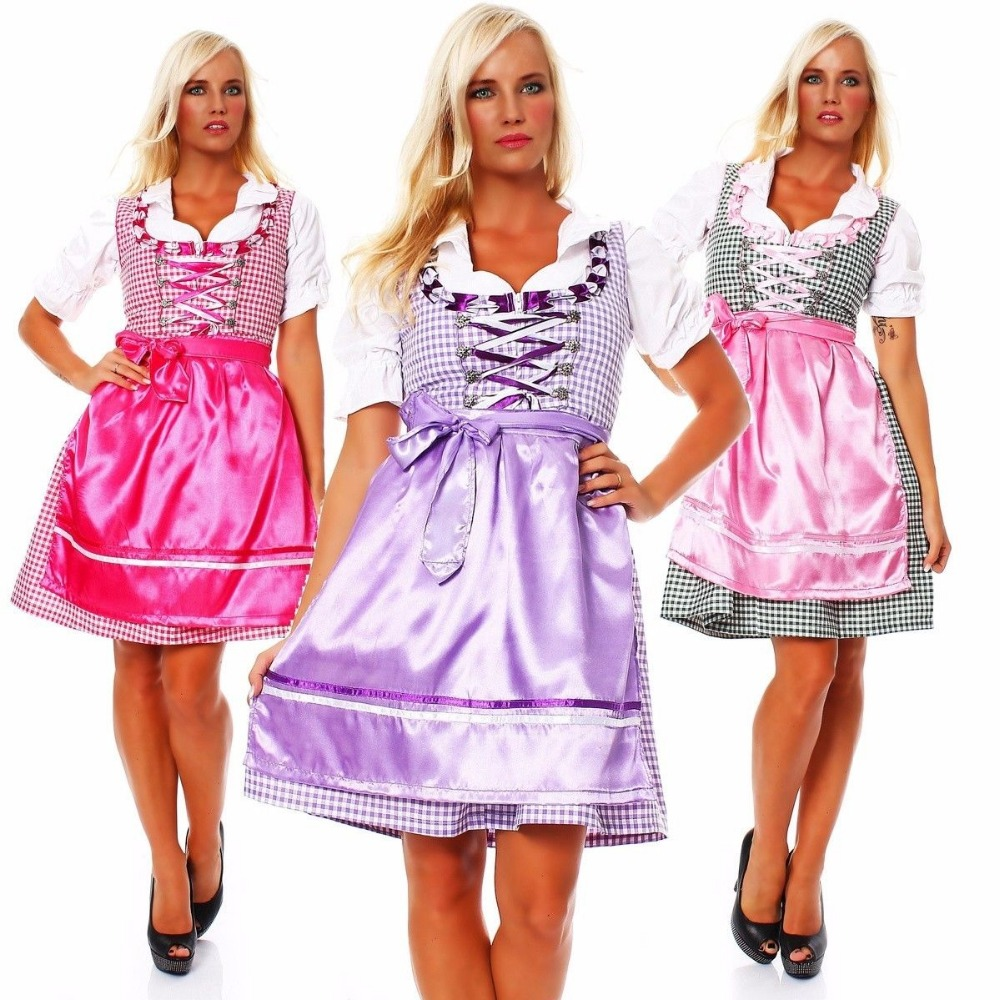 Red and blue jeans check Dirndl Custom Design Trachten Oktoberfest Bavarian Traditional Dirndl For