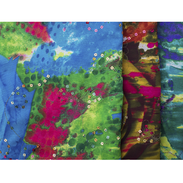 100% Printed Chiffon Garment Fabric With Sequin