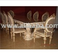 Luxury Solid Wood Carving Glass Top Dining Table and Chair Set