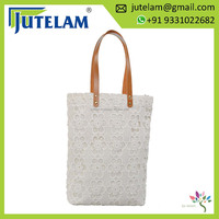 Jute Hand Bag with Leather Handle/ Crochet Jute burlap hi fashion bag