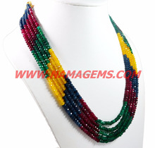 good making and good polish ruby, emerald, sapphire jade stone rondelle beaded ready 5 strand jewelry necklace