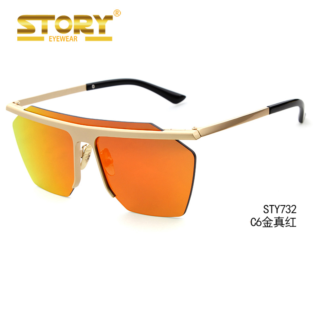 STORY STY732 Vintage mirrored rimless sunglasses polygon metal gold fashion big one piece lens sunglasses men women