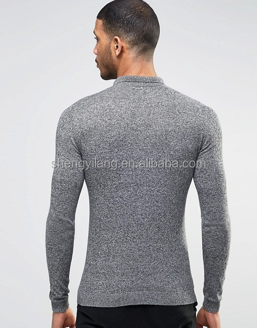 Mens Long Sleeve Tight Fit Knitted Polo In Black & White Twist guangzhou factory