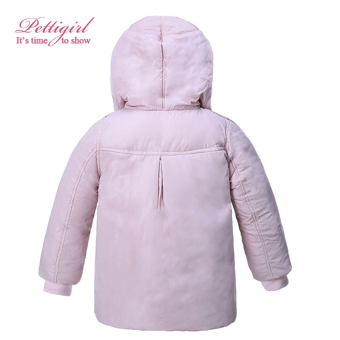 Outdoor girls Down Jacket with hood Soft Coral Fleece